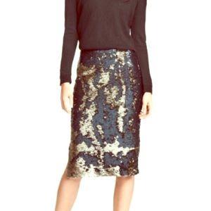 H&M Green & Gold Sequin Skirt